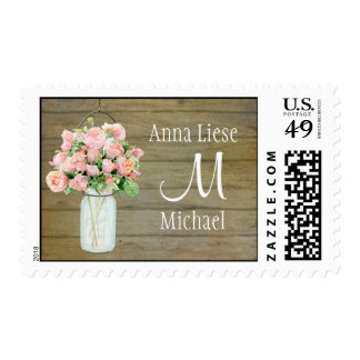 Rustic Country Mason Jar Blush Pink Roses Bouquet Stamp