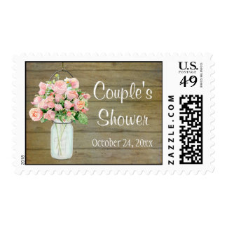 Rustic Country Mason Jar Blush Pink Roses Bouquet Postage Stamps