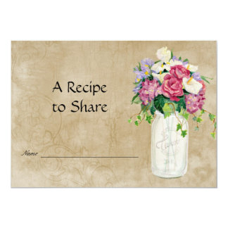 Rustic Country Mason Jar Bouquet Bridal Recipe Card