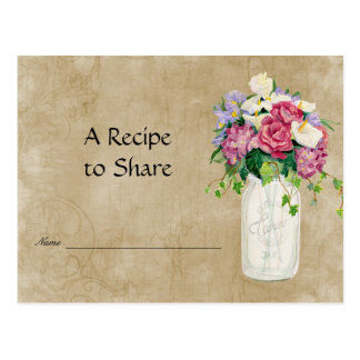 Rustic Country Mason Jar Bouquet Bridal Recipe Postcard
