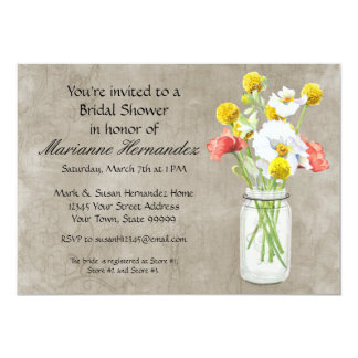 Rustic Country Mason Jar Bouquet Crackle Swirls Card