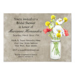 Rustic Country Mason Jar Bouquet Crackle Swirls 5x7 Paper Invitation Card