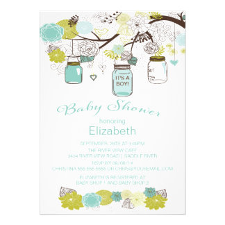 Rustic Country Mason Jar Boys Baby Shower Card