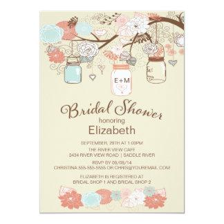 Rustic Country Mason Jar Bridal Shower 5x7 Paper Invitation Card