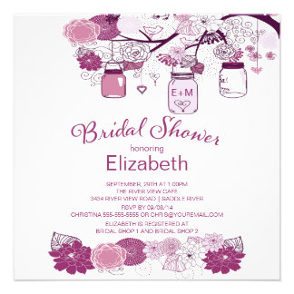 Rustic Country Mason Jar Bridal Shower Personalized Invitation