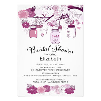 Rustic Country Mason Jar Bridal Shower Personalized Invite
