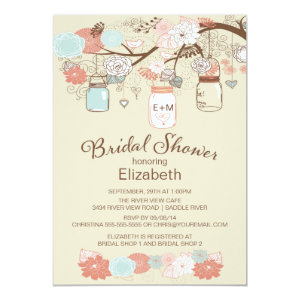 Rustic Country Mason Jar Bridal Shower Personalized Invites
