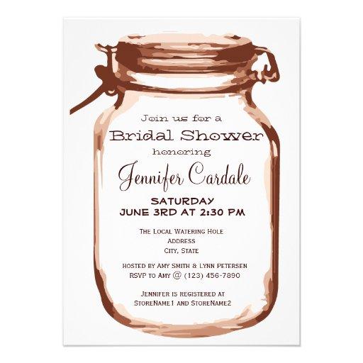 Rustic Country Mason Jar Bridal Shower Invitations Custom Invitations