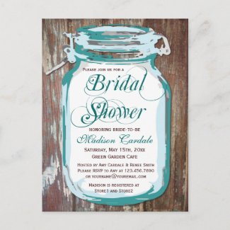 Rustic Country Mason Jar Bridal Shower Postcards