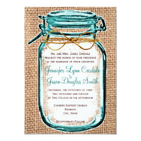 Rustic Country Mason Jar Burlap Wedding Invitation 4.5