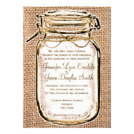 Rustic Country Mason Jar Burlap Wedding Invitation Invitations