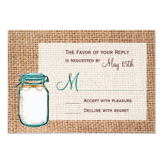 Rustic Country Mason Jar Burlap Wedding RSVP Cards Invitations