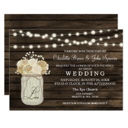 Mason Jar Daisy Barn Wood Wedding Invitations