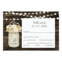 Rustic Country Mason Jar Daisy Barn Wood Wedding Card