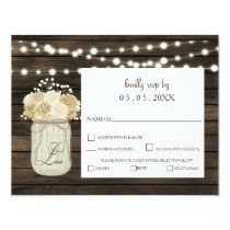 Rustic Country Mason Jar Daisy Barn Wood Wedding Card