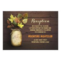 Rustic country mason jar fall wedding reception announcements