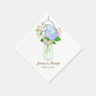 Rustic Country Mason Jar Flowers Blue Hydrangeas Standard Cocktail Napkin