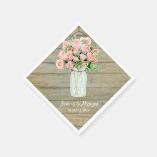 Rustic Country Mason Jar Flowers Blush Roses Paper Napkins