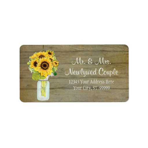 Rustic Country Mason Jar Flowers Sunflower Bouquet Personalized Address Labels