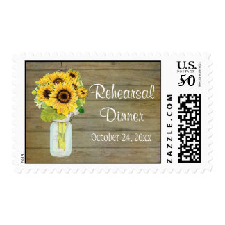 Rustic Country Mason Jar Flowers Sunflower Bouquet Postage