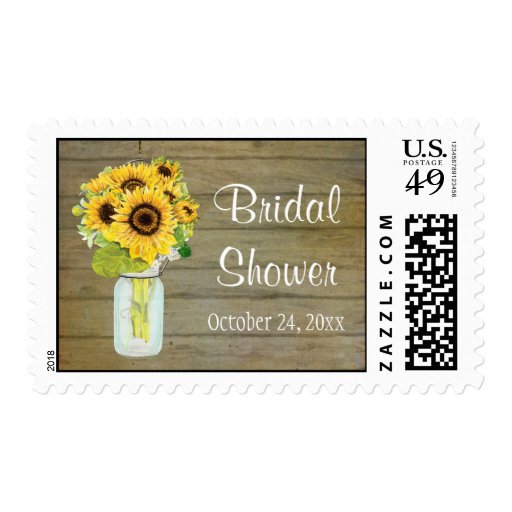 Rustic Country Mason Jar Flowers Sunflower Bouquet Stamps