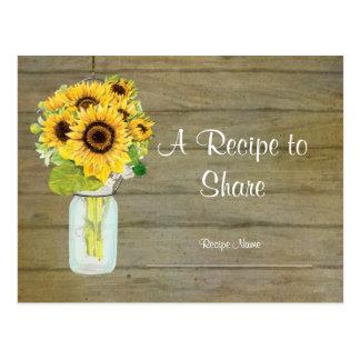 Rustic Country Mason Jar Flowers Sunflower Bouquet Postcard
