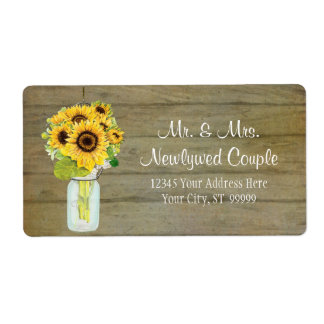 Rustic Country Mason Jar Flowers Sunflower Bouquet Shipping Label