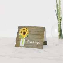 Rustic Country Mason Jar Flowers Sunflower Bouquet Thank You Card