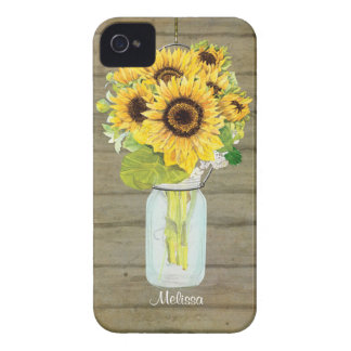 Rustic Country Mason Jar Flowers Sunflower Hanging iPhone 4 Case-Mate Case