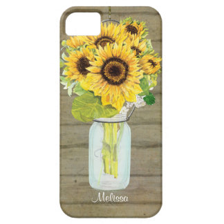 Rustic Country Mason Jar Flowers Sunflower Hanging iPhone 5 Cases