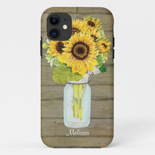 Rustic Country Mason Jar Flowers Sunflower Hanging Phone Case