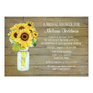 "Rustic Country Mason Jar Flowers Sunflower Hanging 5"" X 7"" Invitation Card"