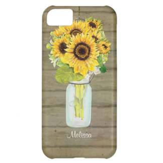 Rustic Country Mason Jar Flowers Sunflower Hanging iPhone 5C Cover