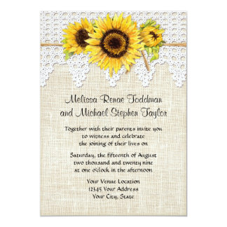 Rustic Country Mason Jar Flowers - Sunflower Lace Card