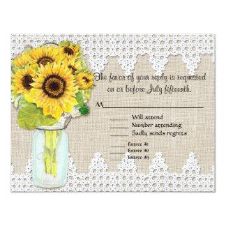 Rustic Country Mason Jar Flowers - Sunflower Lace Custom Invite