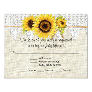 Rustic Country Mason Jar Flowers - Sunflower Lace 4.25x5.5 Paper Invitation Card