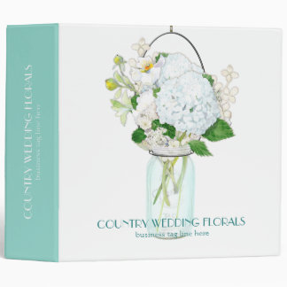 Rustic Country Mason Jar Flowers White Hydrangeas Binder