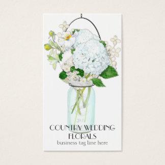 Rustic Country Mason Jar Flowers White Hydrangeas Business Card