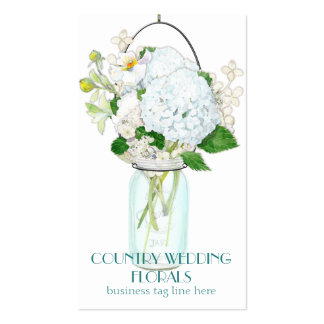 Rustic Country Mason Jar Flowers White Hydrangeas Business Cards