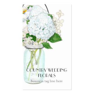 Rustic Country Mason Jar Flowers White Hydrangeas Business Cards