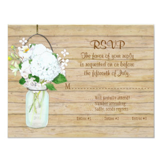 Rustic Country Mason Jar Flowers White Hydrangeas Card