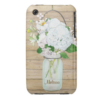 Rustic Country Mason Jar Flowers White Hydrangeas iPhone 3 Case-Mate Case
