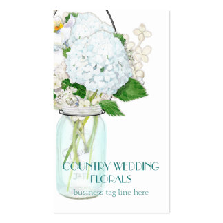 Rustic Country Mason Jar Flowers White Hydrangeas Double-Sided Standard Business Cards (Pack Of 100)