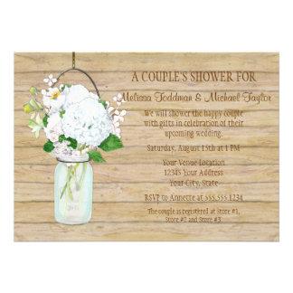 Rustic Country Mason Jar Flowers White Hydrangeas Custom Invites