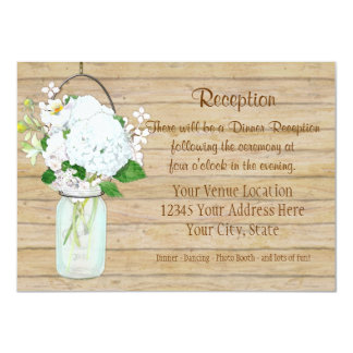 Rustic Country Mason Jar Flowers White Hydrangeas Announcement