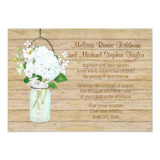Rustic Country Mason Jar Flowers White Hydrangeas 5x7 Paper Invitation Card