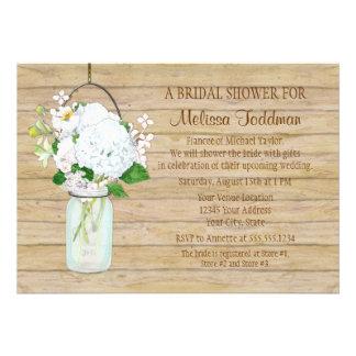 Rustic Country Mason Jar Flowers White Hydrangeas Custom Announcements