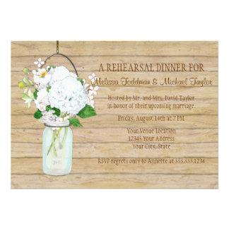 Rustic Country Mason Jar Flowers White Hydrangeas Custom Invitation