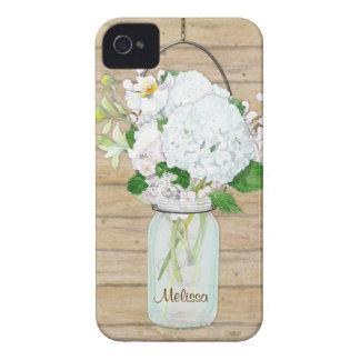 Rustic Country Mason Jar Flowers White Hydrangeas iPhone 4 Case-Mate Case