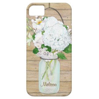 Rustic Country Mason Jar Flowers White Hydrangeas iPhone SE/5/5s Case